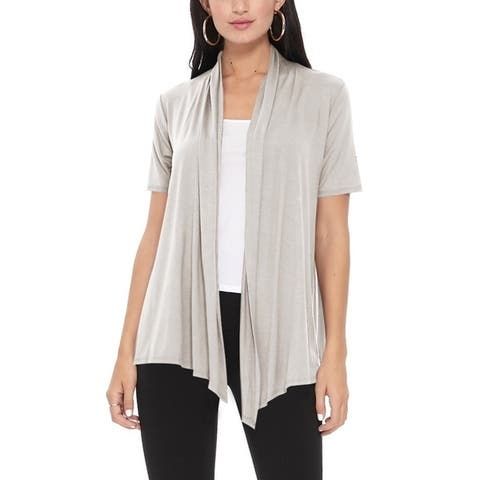 Women's Casual Solid Short Sleeve Basic Cardigan Jacket