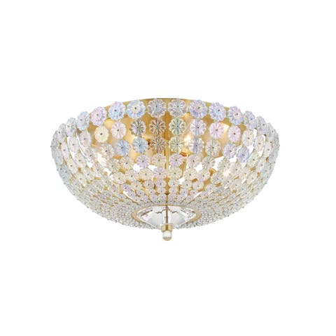 Floral Park 1-Light Flush Mount with Iridescent Glass