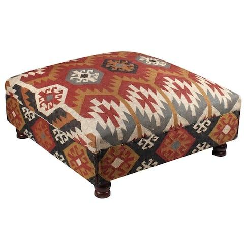 "Handmade Kilim Upholstered Storage Ottoman (India) - 40"" x 40"" x 21"""