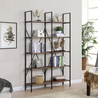 Best Quality Furniture 5-Tier Bookcase with Grey Metal Rustic Frame