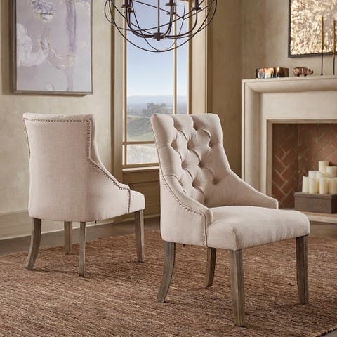 Kimpton Linen Curved Back Tufted Dining Chair (Set of 2) by iNSPIRE Q Artisan