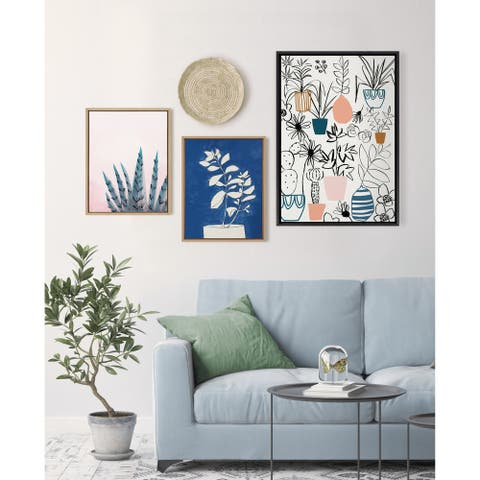 Kate and Laurel Sylvie Plant Kingdom Framed Canvas by Teju Reval