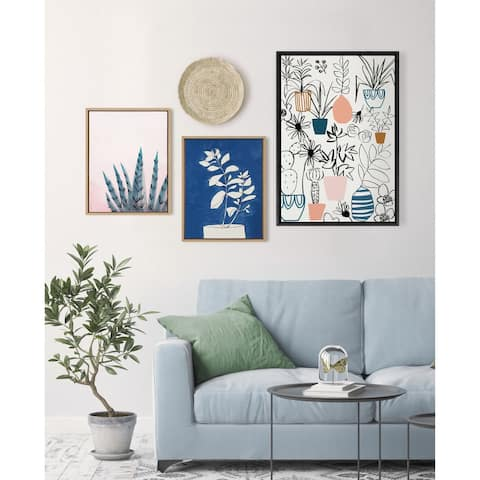 Kate and Laurel Sylvie Night Blooms Framed Canvas by Teju Reval