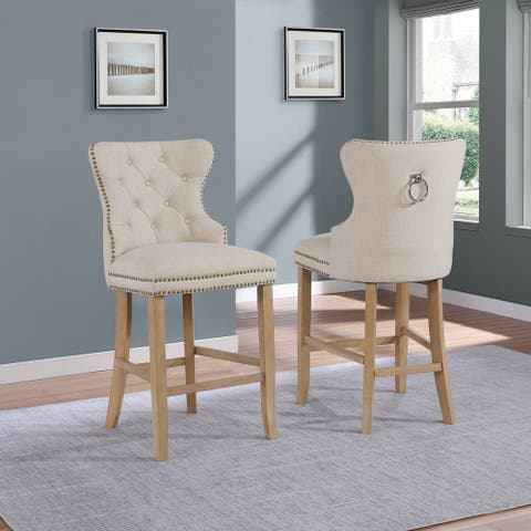 Best Quality Furniture Linen Fabric Button Tufted Barstools with Ring Back Handle (Set of 2)