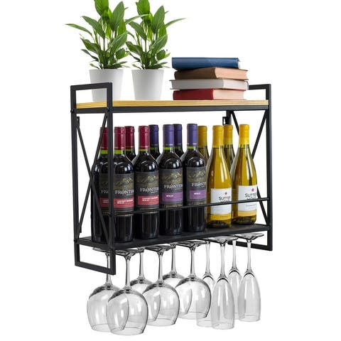 Industrial Wine Racks Wall Mounted with 5 Stem Glass Holder - N/A