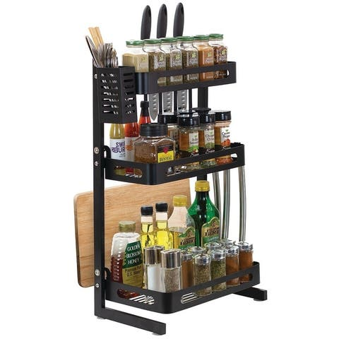 3 Tier Metal Kitchen Spice Rack Countertop Standing Organizer with 3 Hooks, Black