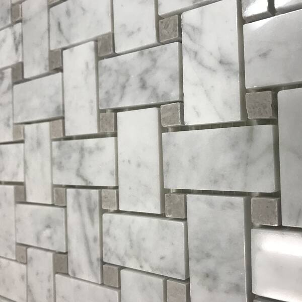 Carrara Marble Mosaic Decorative Backsplash Tile 12 X 12 X 0 38 Pc On Sale Overstock 30865895
