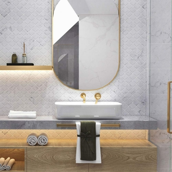 "Carrara Marble Mosaic Decorative Backsplash Tile, 12""x 12""x 0.38""/pc. Opens flyout."