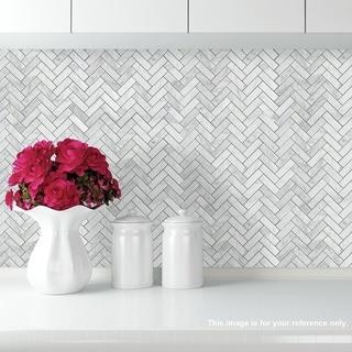 "Link to Carrara Marble Mosaic Decorative Backsplash Tile, 12""x 12""x 0.38""/pc Similar Items in Tile"