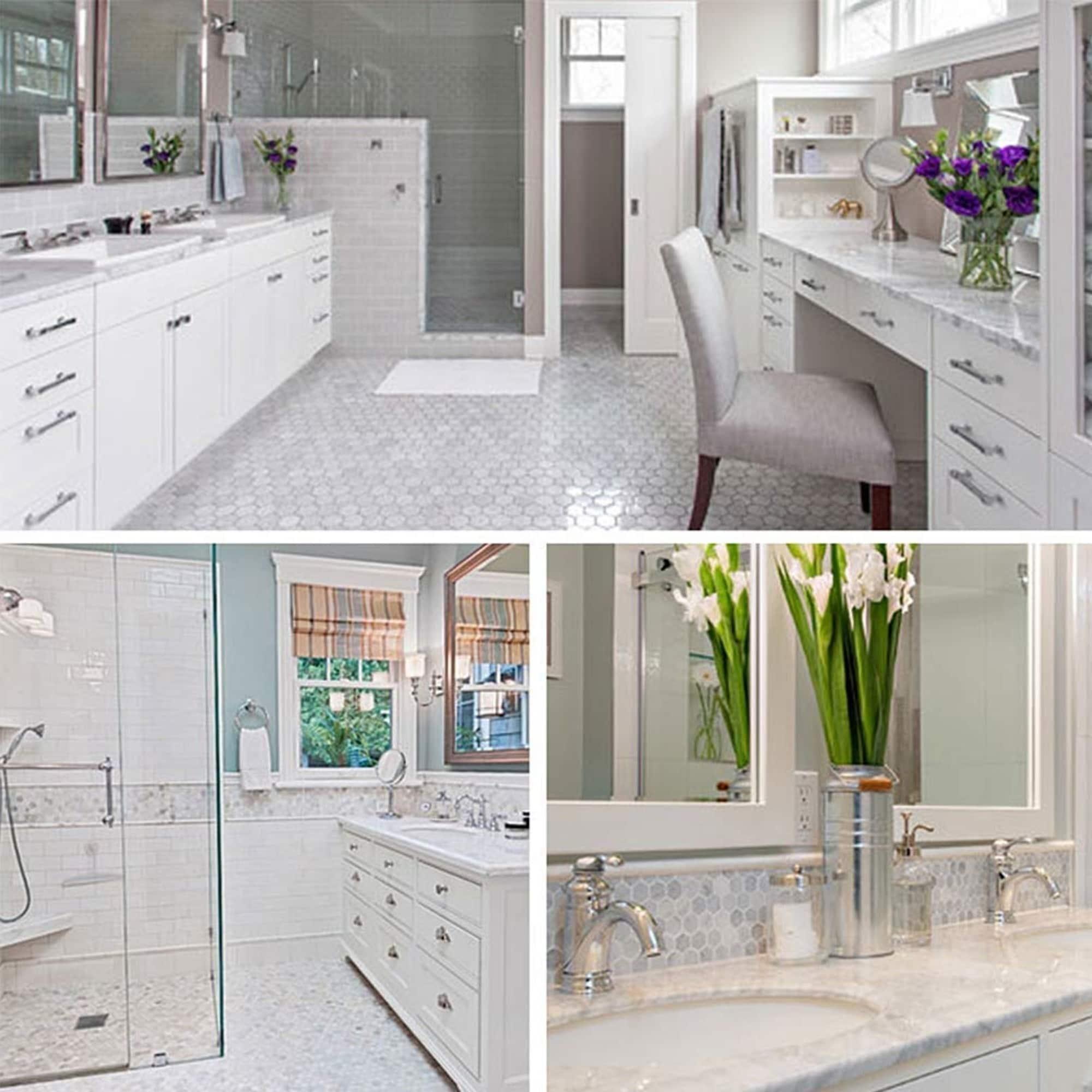 Carrara Marble Mosaic Decorative Backsplash Tile 12 X 12 X 0 38 Pc On Sale Overstock 30865919