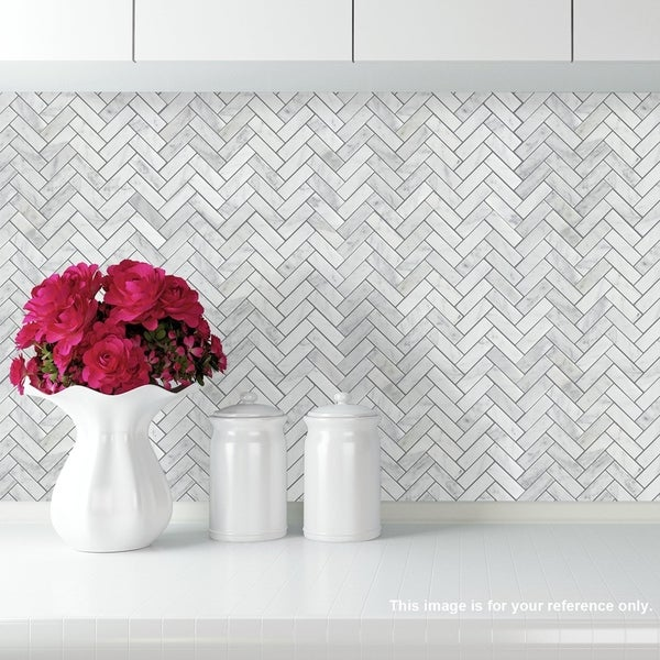 "Carrara Marble Mosaic Decorative Backsplash Tile , 12""x 12""x 0.38""/pc. Opens flyout."