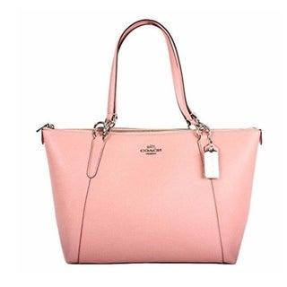 COACH F57526 AVA Crossgrain Leather Tote Handbag Purse Shoulder Bag Pink
