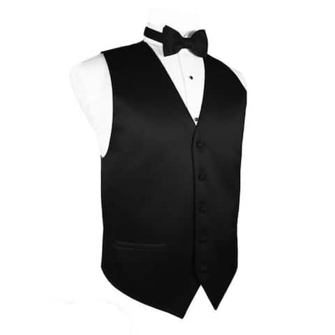 Cardi Men's Solid Satin Tuxedo Vest & Coordinating Bow Tie