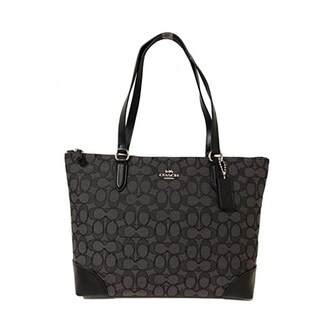 Link to COACH 29958 Signature Tote Shoulder Bag Black Smoke Similar Items in Shop By Style