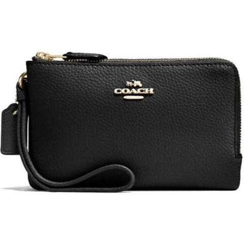 COACH 87590 Double Corner Zip Wristlet Black