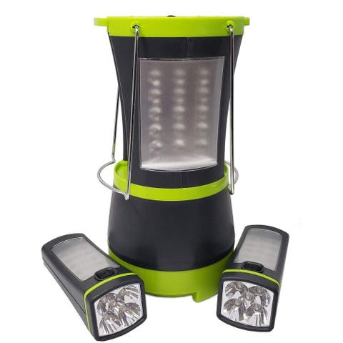 LED Multi-function Camping Outdoor Light with 2 Detachable Flash Lights - Free Standing & Hanging - Battery Operated
