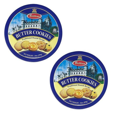 Bettino Butter Cookies - Traditional Danish Recipe With Keepsake Tin - 16 oz