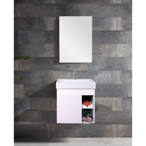 "Innoci-USA Anacapa 22"" Wall Hung Vanity set with 1-Door Cabinet and Ceramic Top and Integrated Basin and Medicine Cabinet"