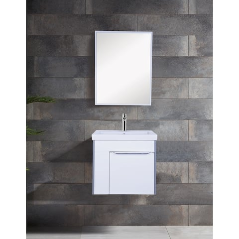 "Innoci-USA Anacapa 22"" Wall Hung Vanity set with 1-Door Cabinet and Ceramic Top with Integrated Basin and Mirror in Glossy White"