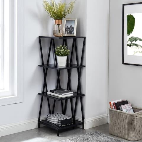 Furniture of America Carlo Modern Black Metal Display Corner Bookcase