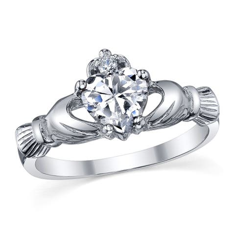 Oliveti Women's Sterling Silver 925 Irish Claddagh Friendship Love Clear Heart Cubic Zirconia Ring