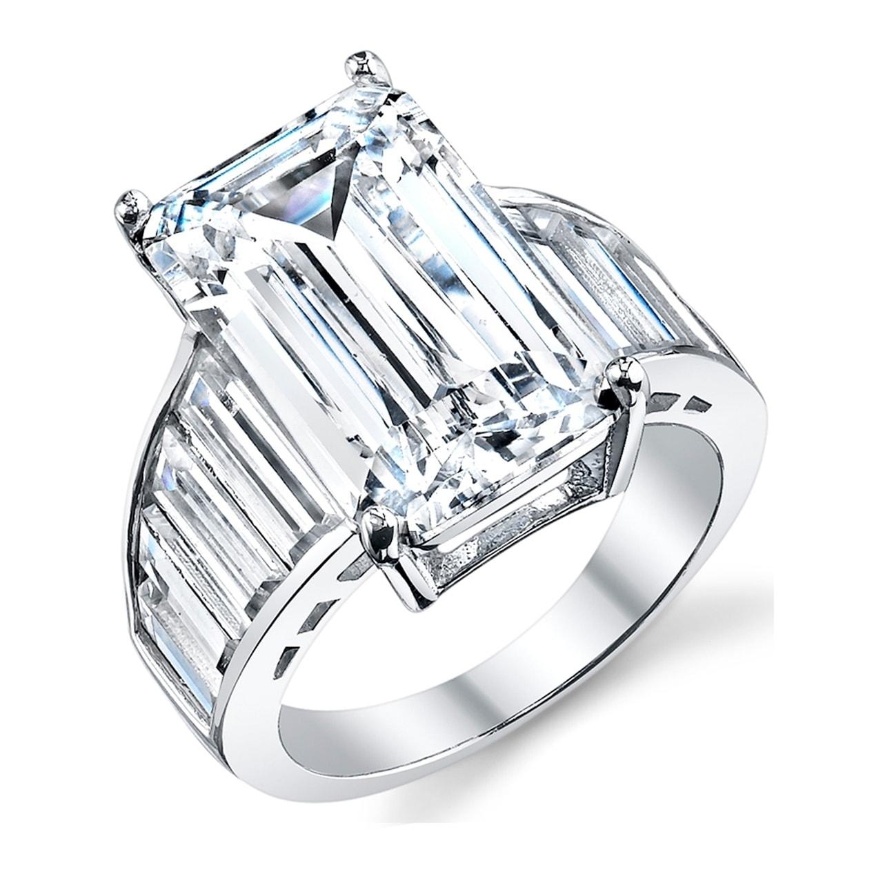 Women Men Green Gemstone Antique Silver Emerald Zircon Ring Wedding Engagement