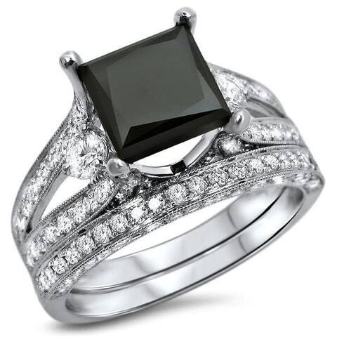 18k White Gold 4ct UGL-certified Black Princess-cut Diamond Engagement Bridal Ring Set