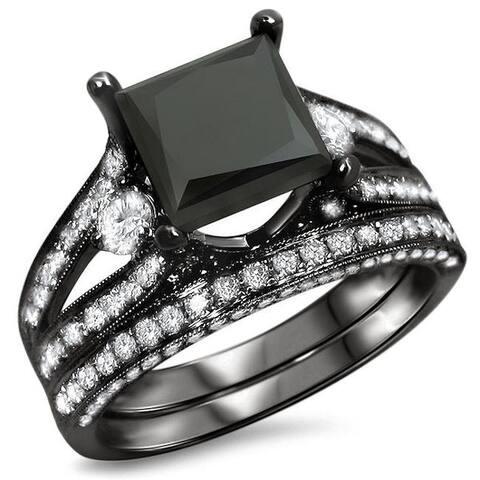 18k Black Gold 4ct UGL-certified Black Princess-cut Diamond Engagement Bridal Ring Set
