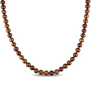 M by Miadora Off Round Brown Cultured Freshwater Pearl Necklace (6.5-7 mm)