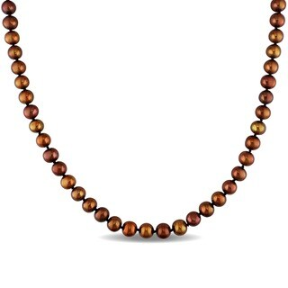 Miadora Off Round Brown Cultured Freshwater Pearl Necklace (6.5-7 mm)