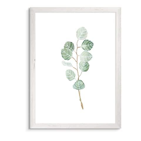 Soft Eucalyptus Branch III-Framed Canvas - White - 16X22