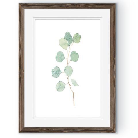 Soft Eucalyptus Branch IV-Framed Print - Espresso - 16X22