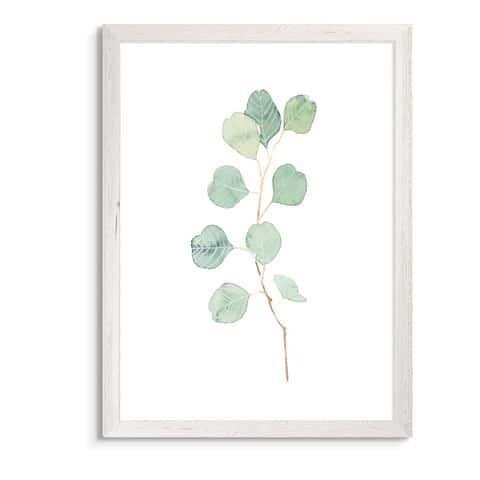 Soft Eucalyptus Branch IV-Framed Canvas - White - 16X22