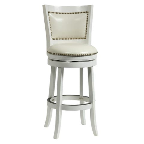 Nailhead Trim Round Leatherette Barstool with Flared Legs, White