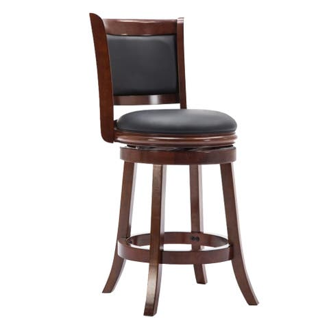 Round Wooden Swivel Barstool with Padded Seat and Back, Cherry Brown