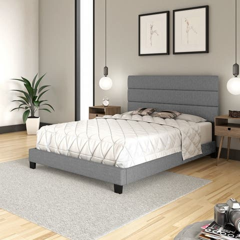 Sleep Sync Regatta Upholstered Linen Tri-Panel Platform Bed Frame