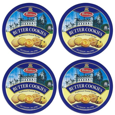 Bettino Butter Cookies - Traditional Danish Recipe With Keepsake Tin - 16 oz - 4 PACK