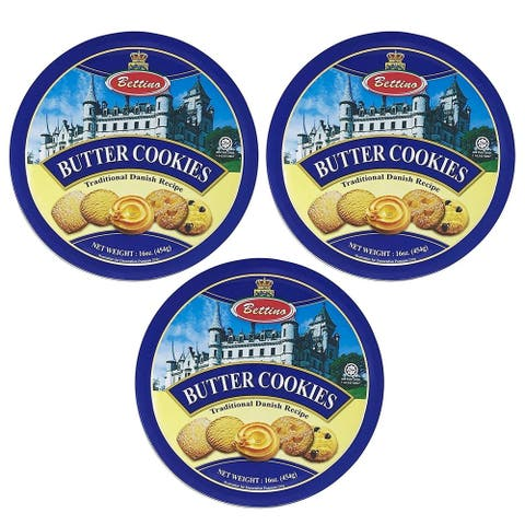 Bettino Butter Cookies - Traditional Danish Recipe With Keepsake Tin - 16 oz 3 PACK