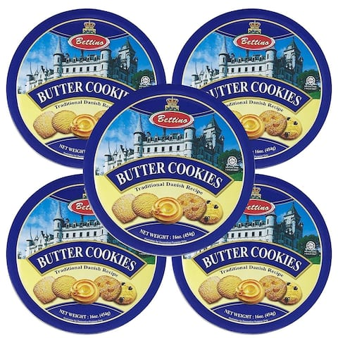 Bettino Butter Cookies - Traditional Danish Recipe With Keepsake Tin - 16 oz - 5 PACK