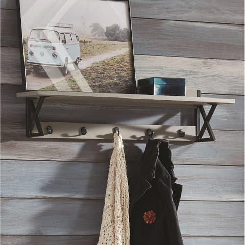 Carbon Loft Eres Wood with Concrete Coat Hook with Shelf