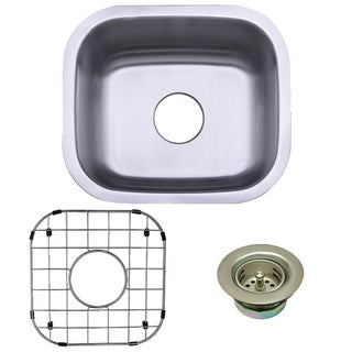 Undermount Single Bowl Bar Sink Combo with Strainer and Grid in Brushed