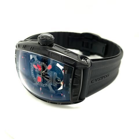 Cvstos Men's 11045CHJSLACSK2 'Challenge Jet Liner GT' Black Diamond Skull Dial Black Rubber Strap Date Automatic Watch
