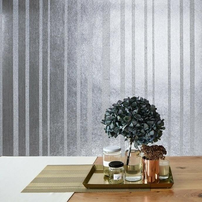 Portofino modern non-woven Wallpaper roll silver stria lines Gray Metallic Plain