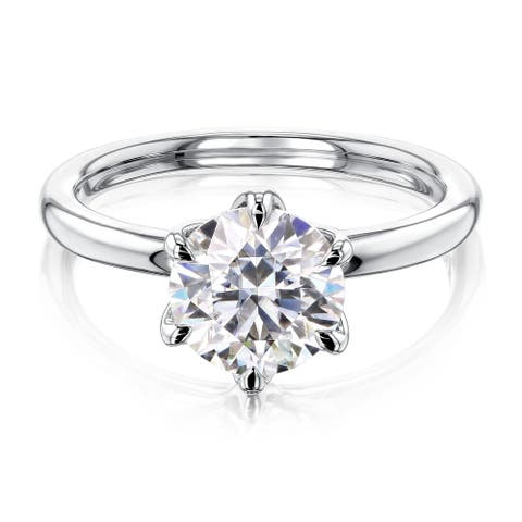 Annello by Kobelli 14k Gold 1.5 Carat Round Forever One Moissanite Solitaire 6-Prong Comfort Fit Engagement Ring