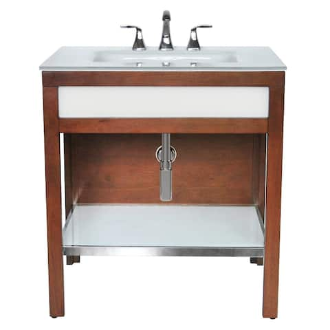 Park Avenue Bathroom Wood Vanity with Tempered Glass, Integrated Sink