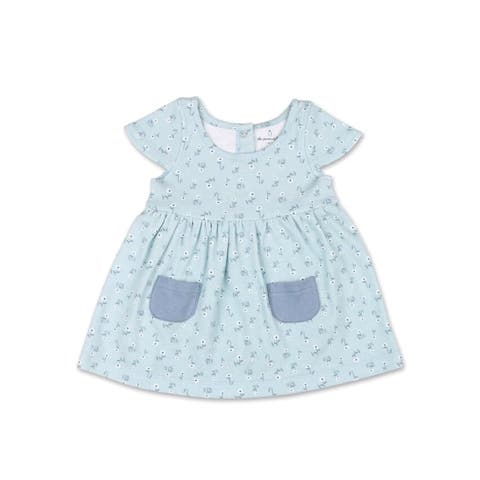 The Peanutshell Tiny Blooms Blue Floral Dress-3M