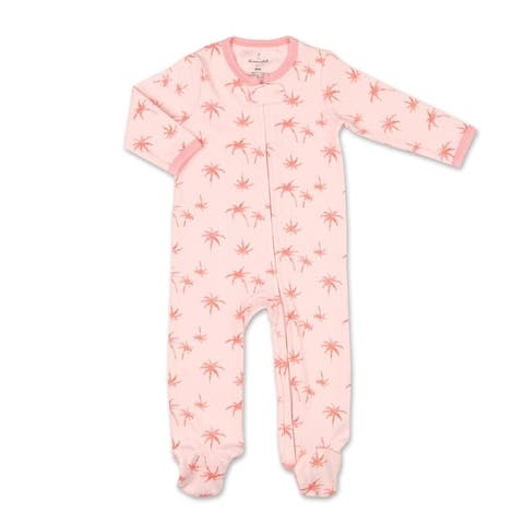 The Peanutshell Tropical Girl Pink Palm Print Footie-9M