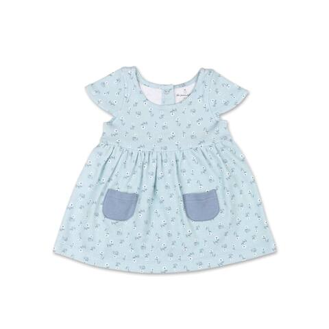 The Peanutshell Tiny Blooms Blue Floral Dress-6M
