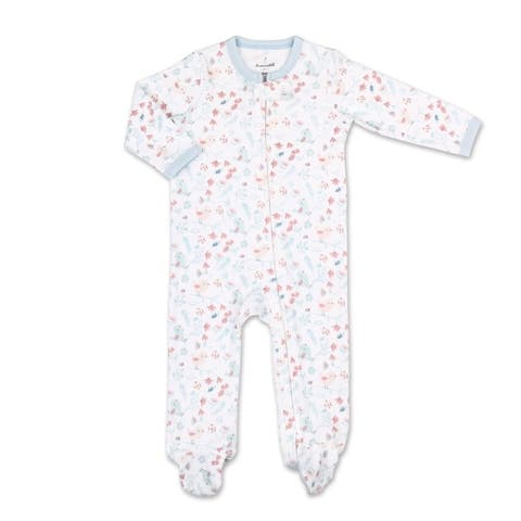 The Peanutshell Tiny Blooms Blue Floral Print Footie-NB