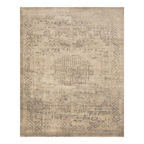 Handmade One-of-a-Kind Erased Wool Rug (India) - 7'5 x 9'9